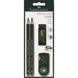 Blister de 2 crayons Jumbo taille-crayon et gomme Castell 9000