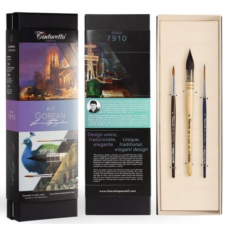 Kit Eugen Gorean de 3 pinceaux aquarelle Tintoretto