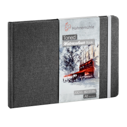 Toned Watercolour book Hahnemühle gris A5 paysage 200g 60 pages grain fin