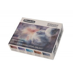 Coffret carton de 5 couleurs aquarelle en tube 5ml supergranulation Galaxie Horodam de Schmincke